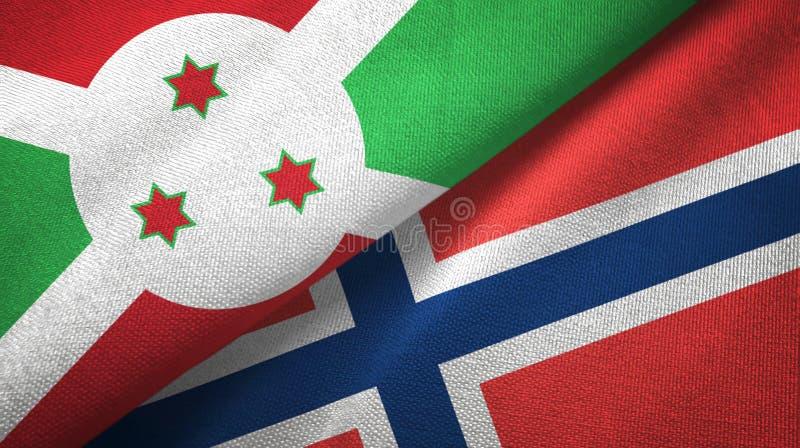 Burundi en Noorwegen twee vlaggen textieldoek, stoffentextuur stock illustratie