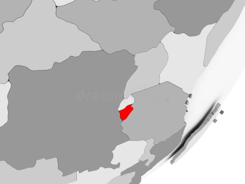 Burundi en rojo en mapa gris stock de ilustración