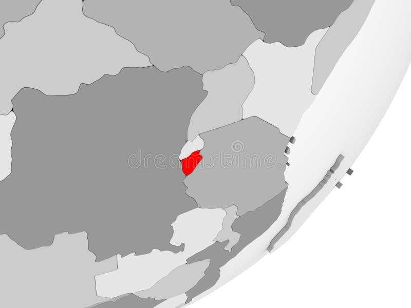 Burundi en rojo en mapa gris ilustración del vector