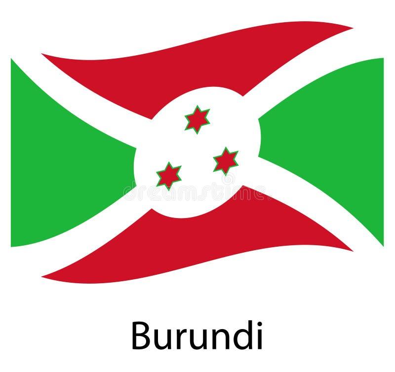 Burundi flag. Isolated national flag of Burundi. Waving flag of the Republic of Burundi. stock illustration