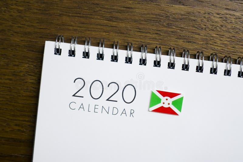 Burundi flaga na 2020 kalendarzu fotografia stock