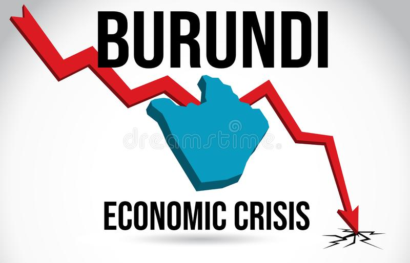 Burundi Map Financial Crisis Economic Collapse Market Crash Global Meltdown Vector. Illustration royalty free illustration
