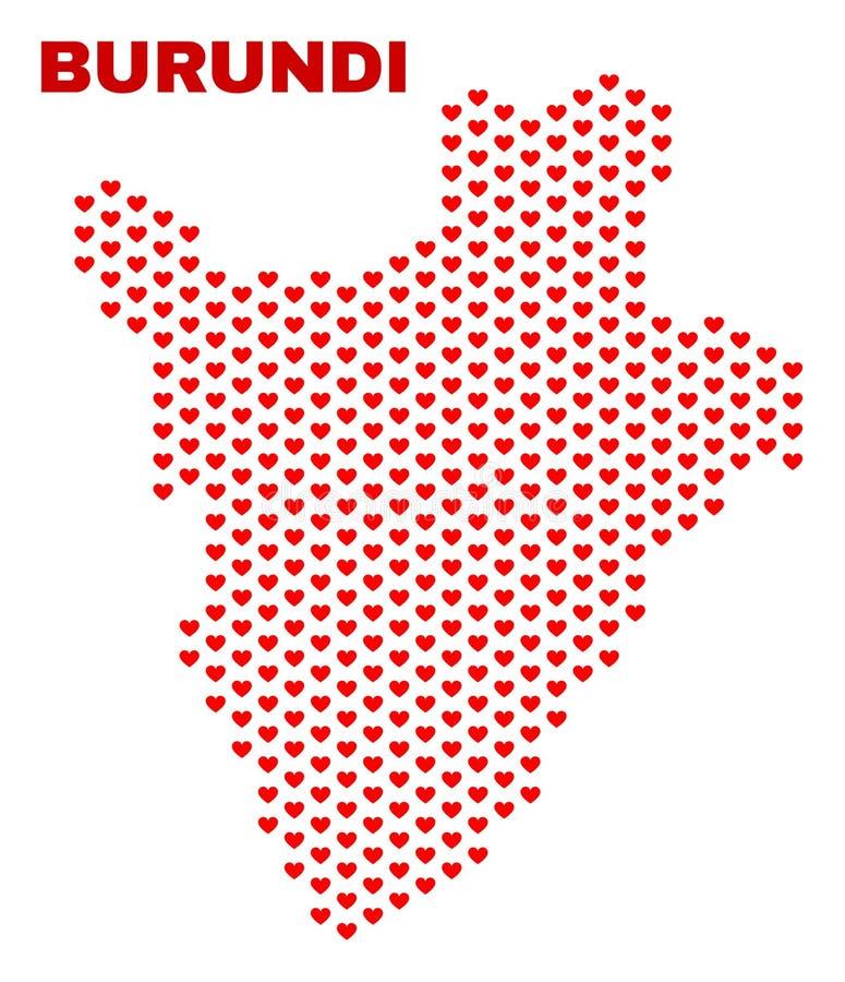 Burundi Map - Mosaic of Lovely Hearts stock illustration