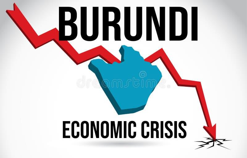 Burundi mapy kryzysu finansowego zawalenia się rynku Ekonomicznego trzaska topnienia Globalny wektor royalty ilustracja