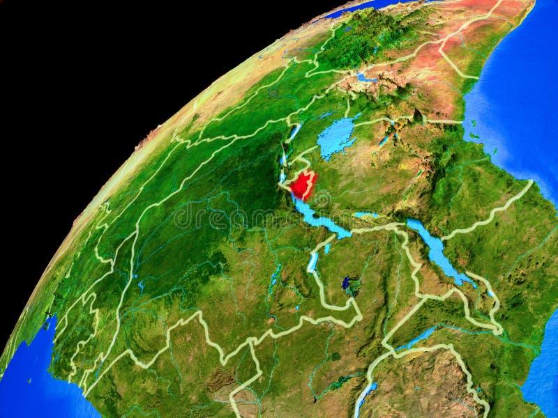 Burundi na ziemi od przestrzeni zdjęcie royalty free