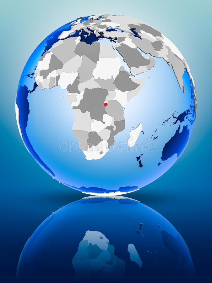 Burundi op bol royalty-vrije stock foto