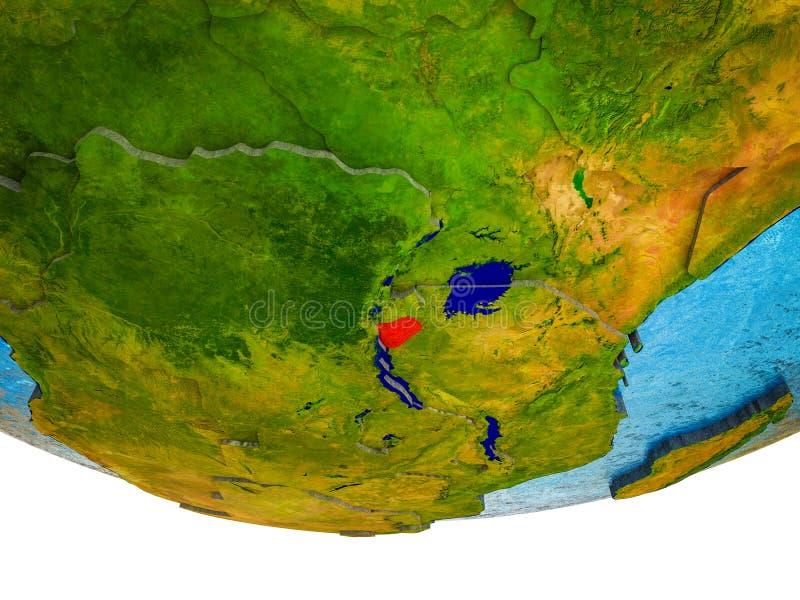 Burundi op 3D Aarde royalty-vrije stock foto