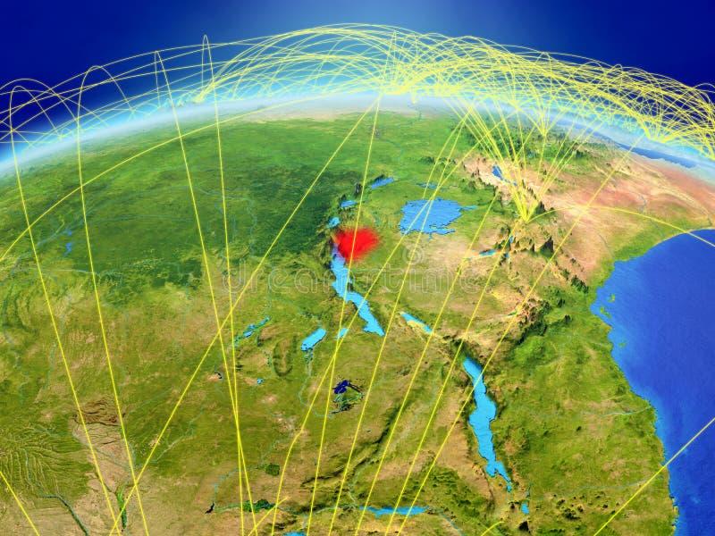 Burundi ter wereld met netwerk royalty-vrije stock afbeelding