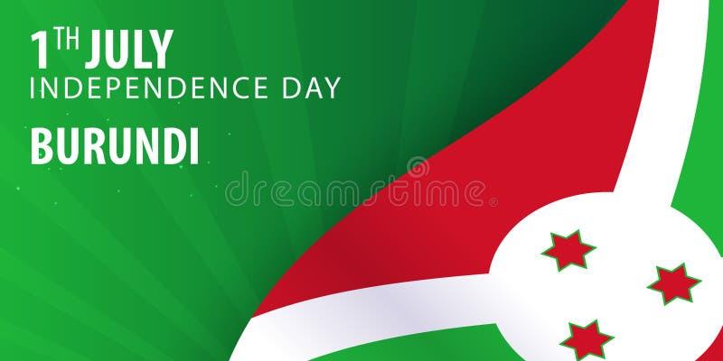 Burundisk självständighetsdagen Flagga och patriotiskt baner också vektor för coreldrawillustration stock illustrationer