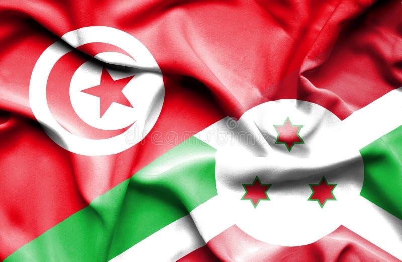 Burundisk vinkande flagga och Tunisien royaltyfri illustrationer