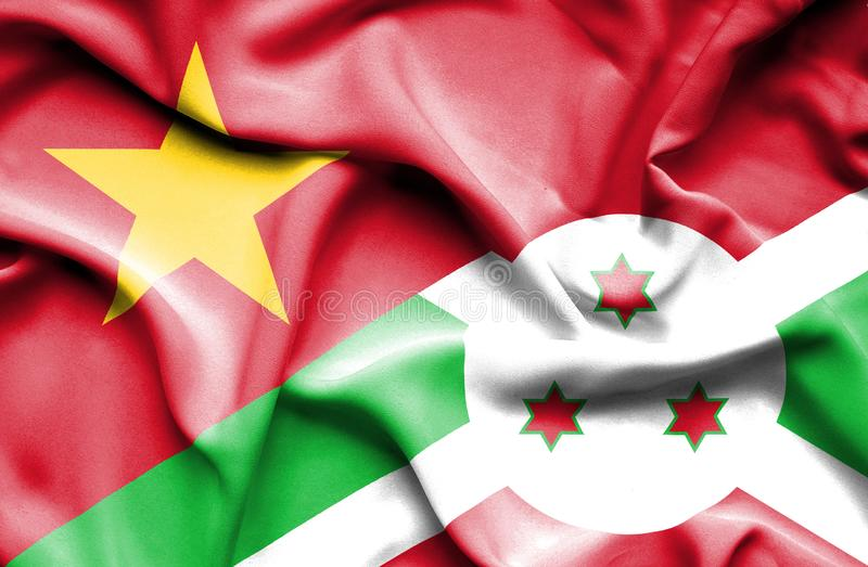 Burundisk vinkande flagga och Vietnam stock illustrationer