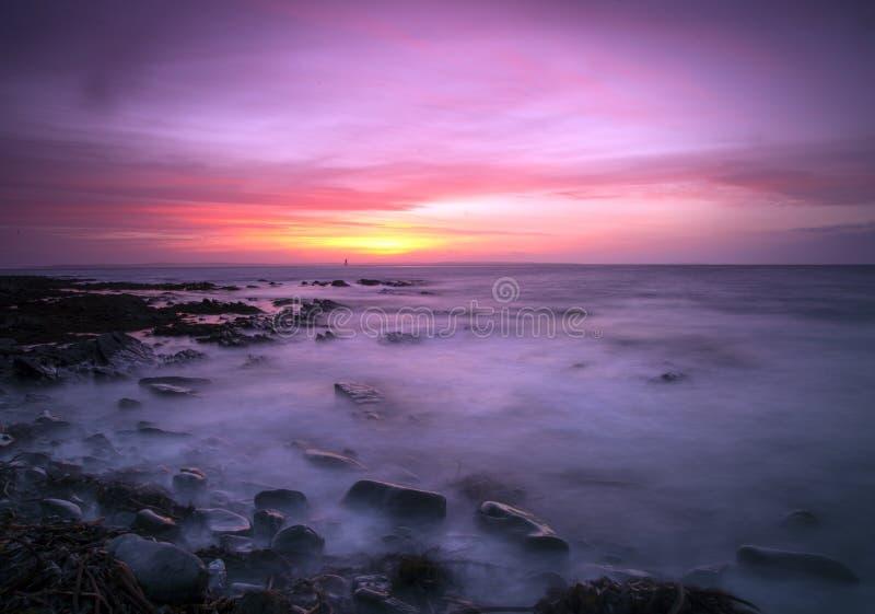 Burwick solnedgång fotografering för bildbyråer