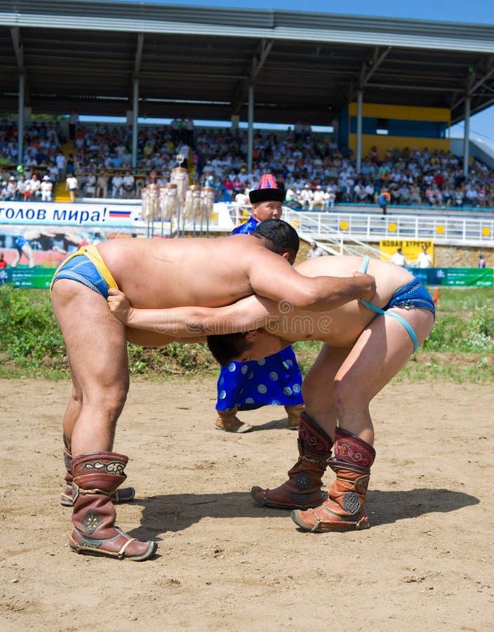 Buryat (Mongolian) Wrestlers Editorial Stock Image