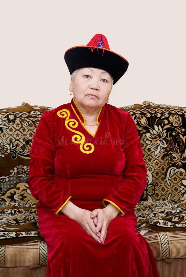 Buryat (Mongoolse) hogere vrouw royalty-vrije stock foto's
