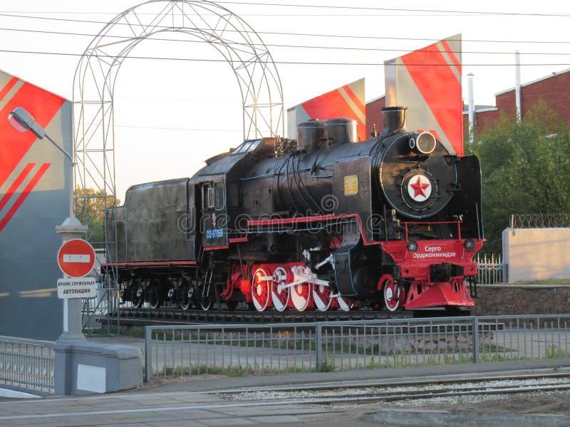 Buryatia,locomotive СО17-1501 On the Avenue 50 years of October in Ulan-Ude. Russia, Buryatia, locomotive СО17-1501 On the Avenue 50 years of stock image