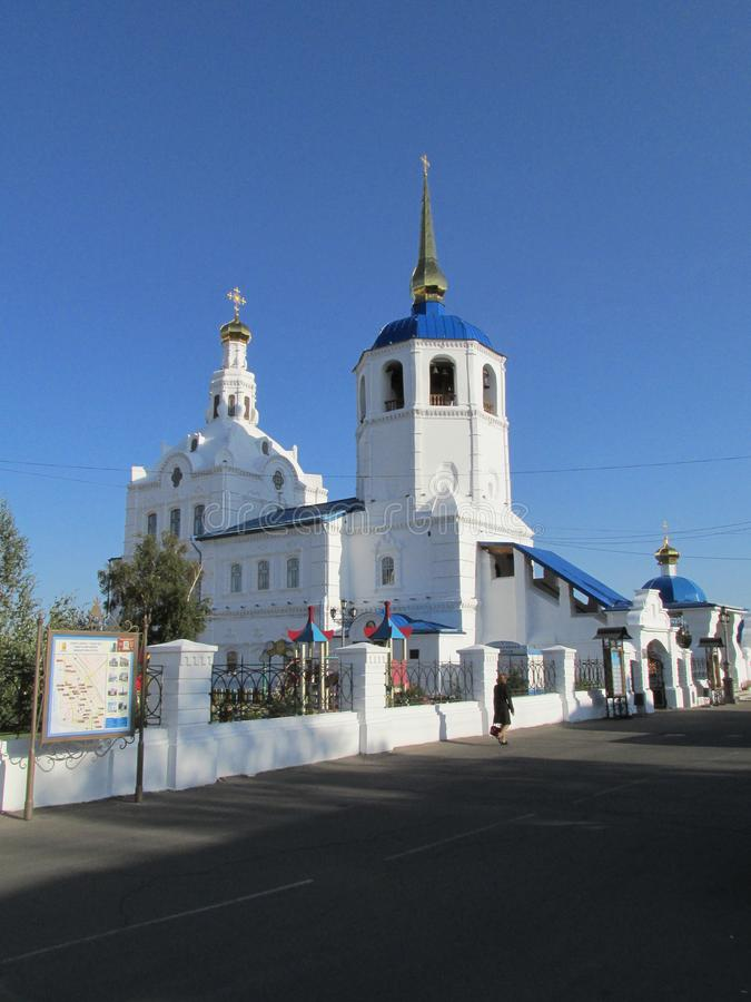 Buryatia Ulan-Ude, Odigitrievsky domkyrka i sommaren royaltyfri bild