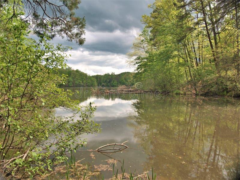 Burz chmury nad czarodziejki Kamień jeziorem w Virginia fotografia royalty free