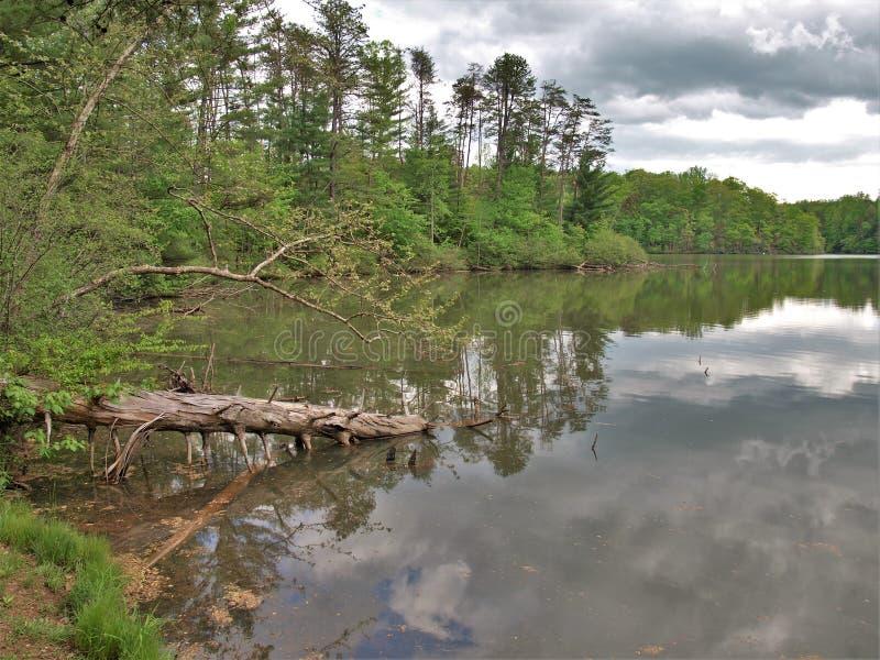 Burz chmury nad czarodziejki Kamień jeziorem w Virginia fotografia stock