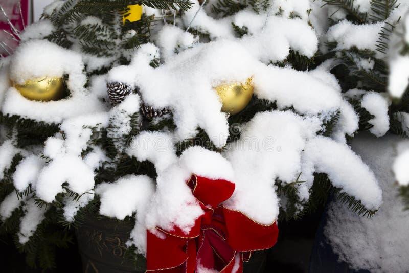Burza śnieżna na świątecznych dekoracjach fotografia royalty free