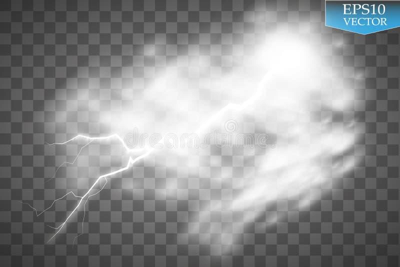 Burza i błyskawica z deszczem i bielem chmurniejemy na przejrzystym tle royalty ilustracja