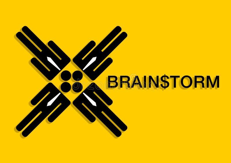 burza mózgów biznesmenów spotkać ilustracja wektor