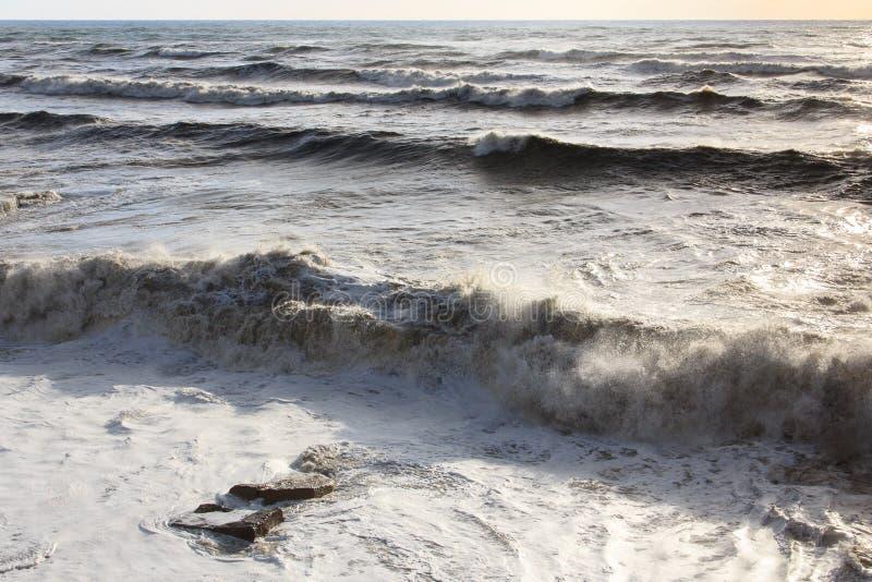 Burza przy morzem tła koloru ilustraci wzoru bezszwowa wektoru woda wielkie fale sunlight obrazy stock