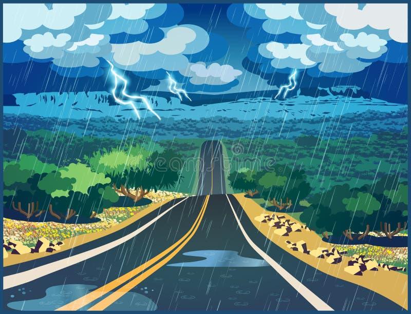 Burza w dolinie ilustracji