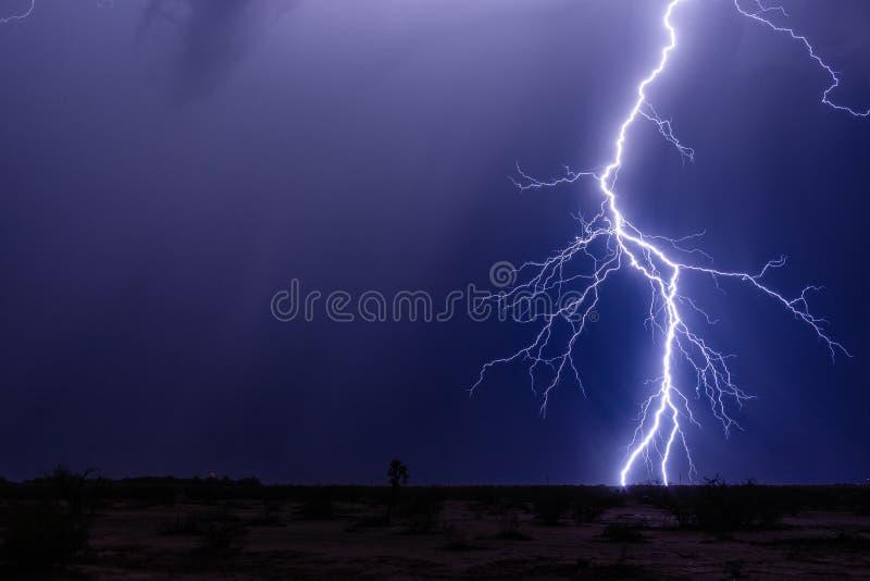 Burza z nocnego nieba i błyskawicowego rygla strajkiem obrazy stock