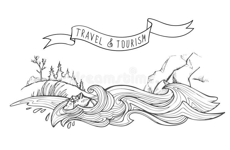 Burzliwa górska rzeka, góry i wzgórze przerośnięte trawą i lasem Ilustracja wyciągnięta z ręki na wektor ilustracja wektor