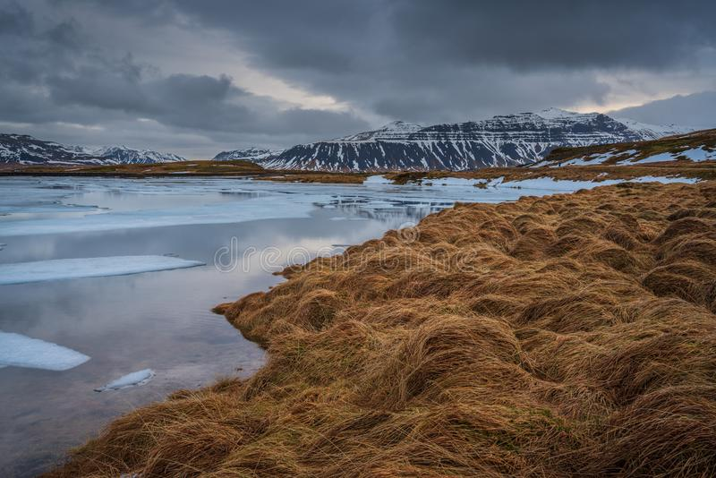 Burzliwość Islandzki krajobraz zdjęcie stock