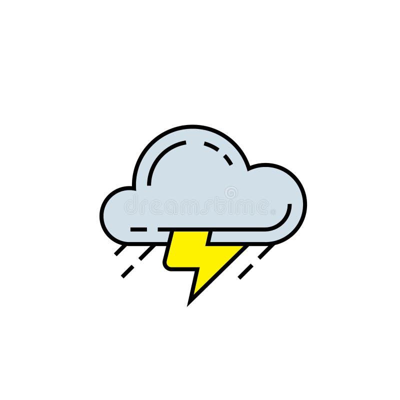 Burzy chmury linii ikona ilustracja wektor