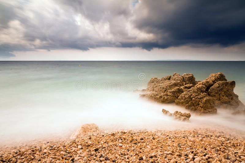 Burzy plaża fotografia stock