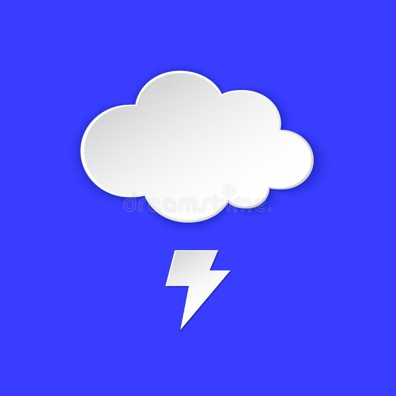 Burzy prognoza pogody ikona Błyskawicowy rygiel, symbol papier, piorunu i chmury projektujemy Klimatu pogodowy element ilustracji