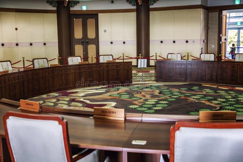 Busán, Corea del Sur, 01/01/2018: Sitio de la negociación de los líderes de estados en el edificio del APEC Primer fotos de archivo