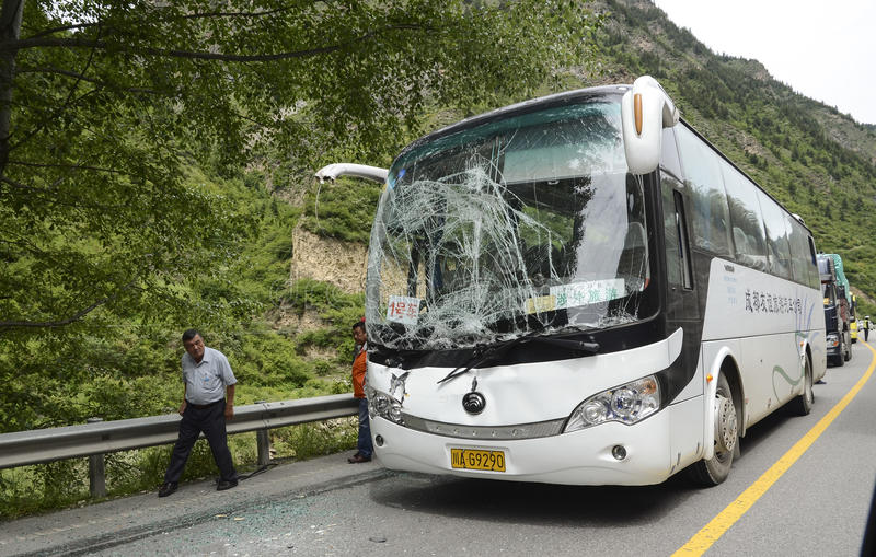 Bus accident. Photo damaged bus accident on the way stock photo