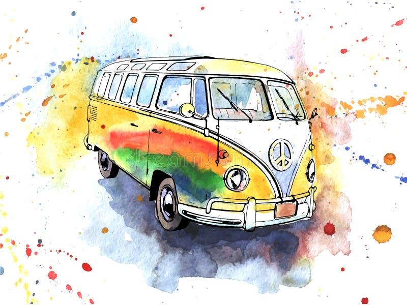 Bus antiquato disegnato a mano del hippy dell'acquerello illustrazione di stock