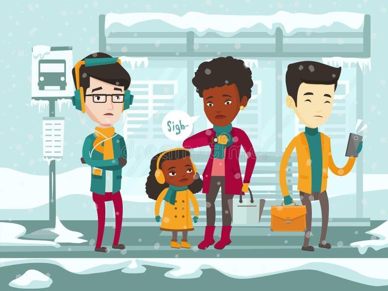 Bus aspettante congelato della gente multiculturale illustrazione di stock