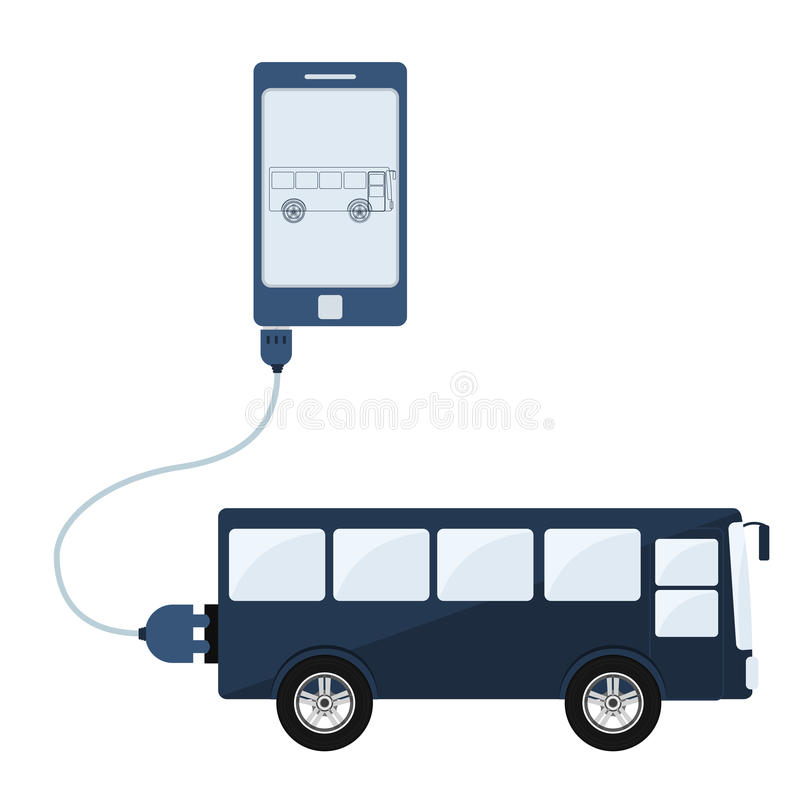 Bus automation using cell phone. Bus connected to a cell phone through a usb cable. Outline of the bus being shown on the mobile monitor. Flat design. Isolated royalty free illustration