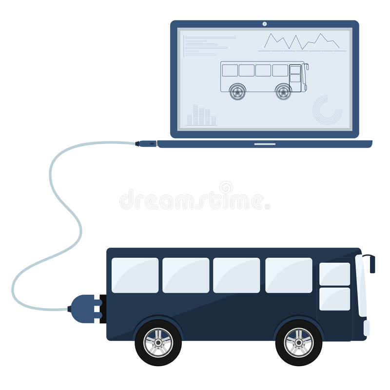Bus automation using laptop. Bus connected to a laptop through a usb cable. Outline of the bus and graphs being shown on the computer monitor. Flat design royalty free illustration