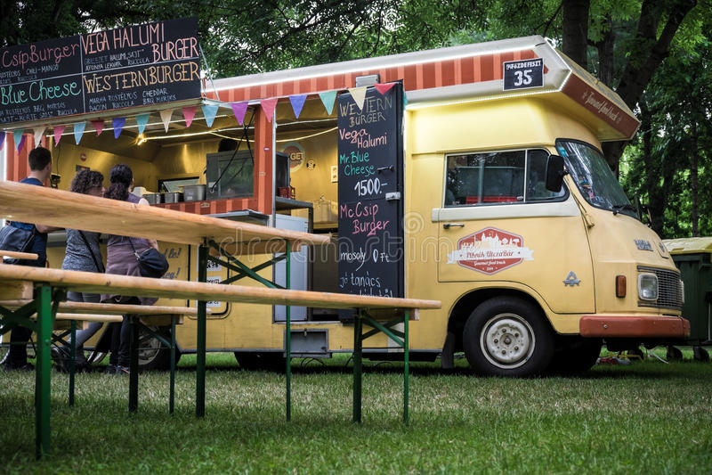 A bus at beer and street food festival in Budapest royalty free stock photo