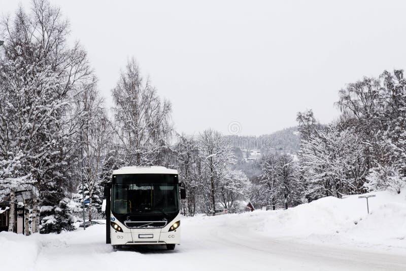 Bus bianco nel paesaggio innevato fotografia stock libera da diritti