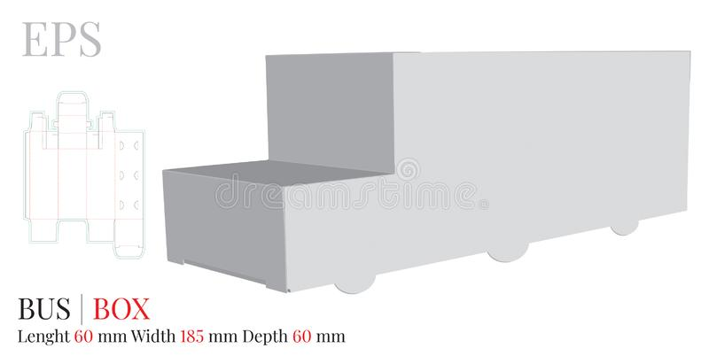 Bus Box Template, vector with die cut / laser cut layers. White, clear, blank, isolated Paper Bus mock up on white background royalty free illustration
