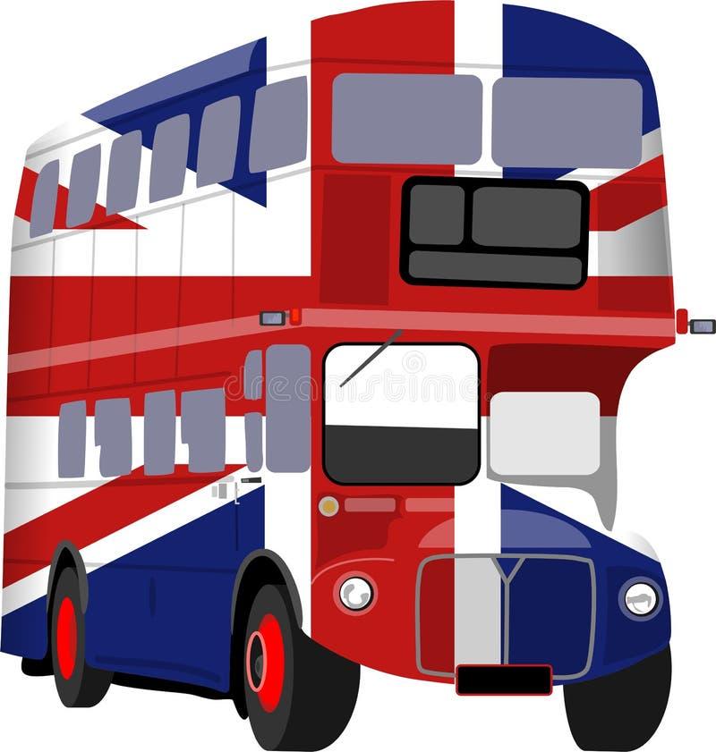 Bus britannique d'indicateur de Jack des syndicats illustration libre de droits