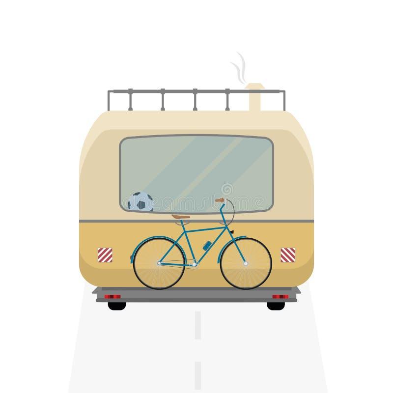 Bus campant Arrière d'autobus de camping images stock