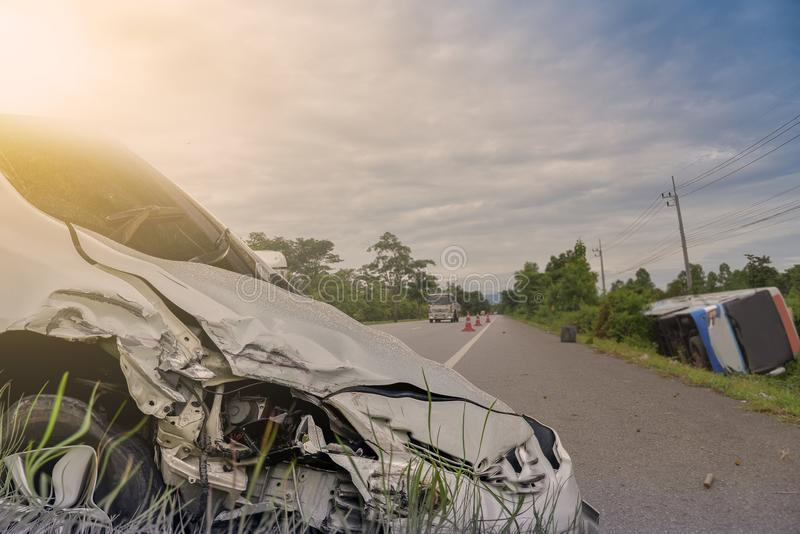 Ar crash front of black car get damaged by accident on the road. stock image