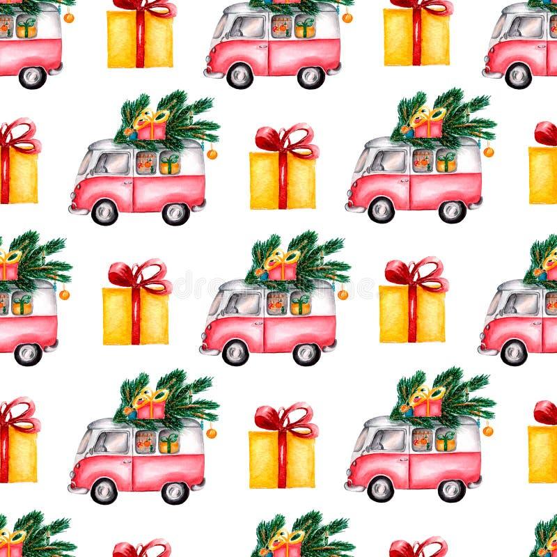 Bus caricato con i dolci, albero di Natale delle scatole, palle di Toy Model di Natale dell'acquerello Modello senza cuciture su  royalty illustrazione gratis