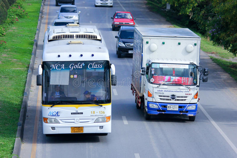 Bus. CHIANGMAI, THAILAND -MAY 21 2014: Nakhonchai air company bus no.18-136. Route Bangkok and Chiangmai. Photo at Road No.11 about 5 Km from Chiangmai city stock photos