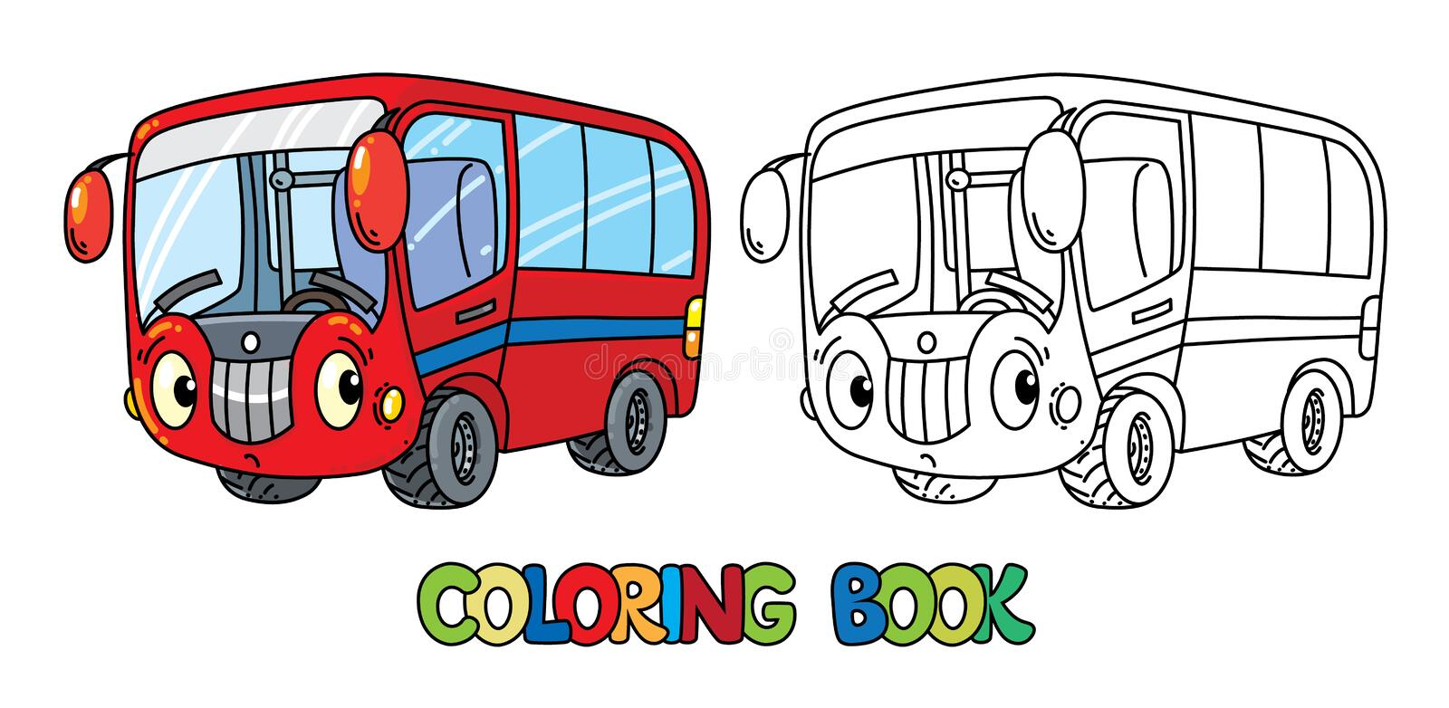 Funny small bus with eyes. Coloring book stock illustration