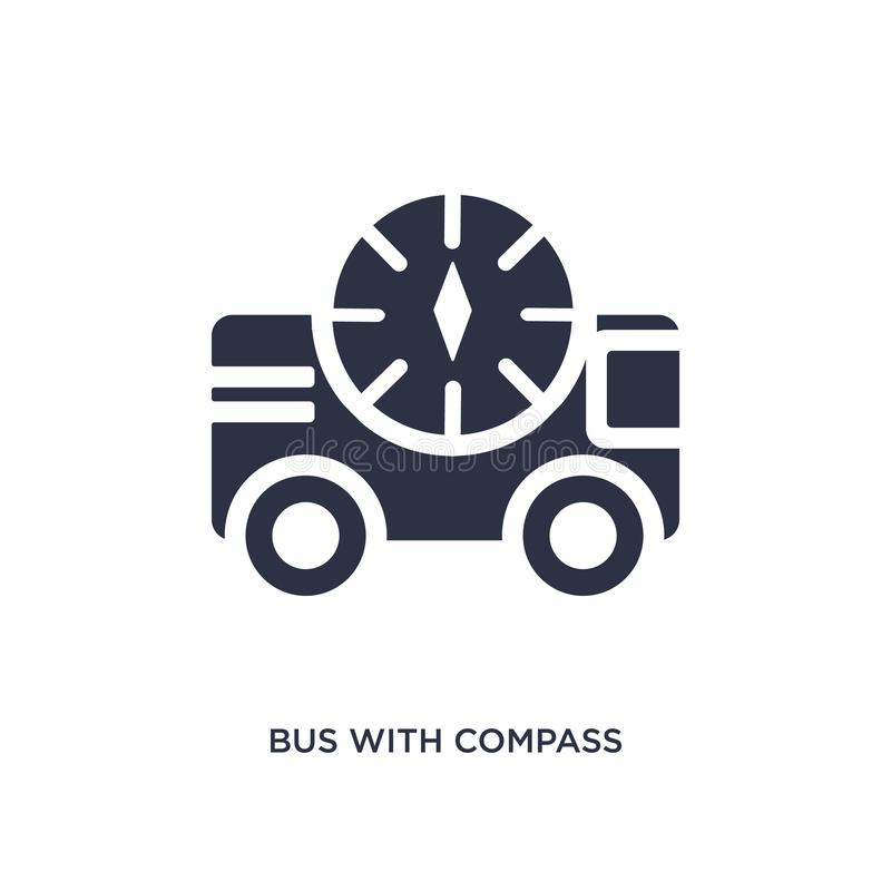 bus with compass icon on white background. Simple element illustration from mechanicons concept royalty free illustration