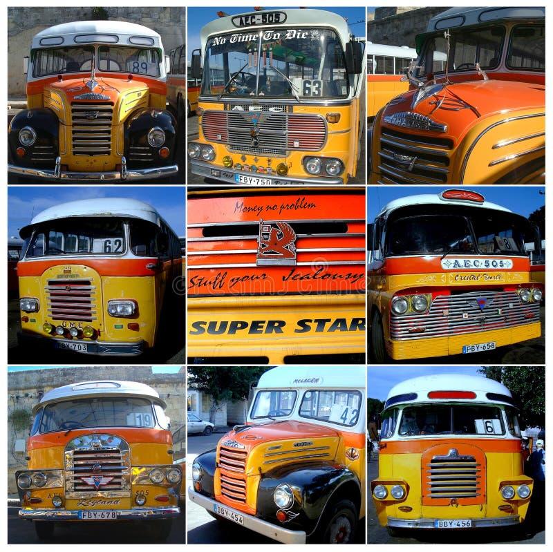 Bus d'annata classici del collage di Malta fotografia stock